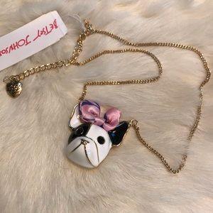 Betsy Johnson Frenchie Bulldog Cloisonne Necklace